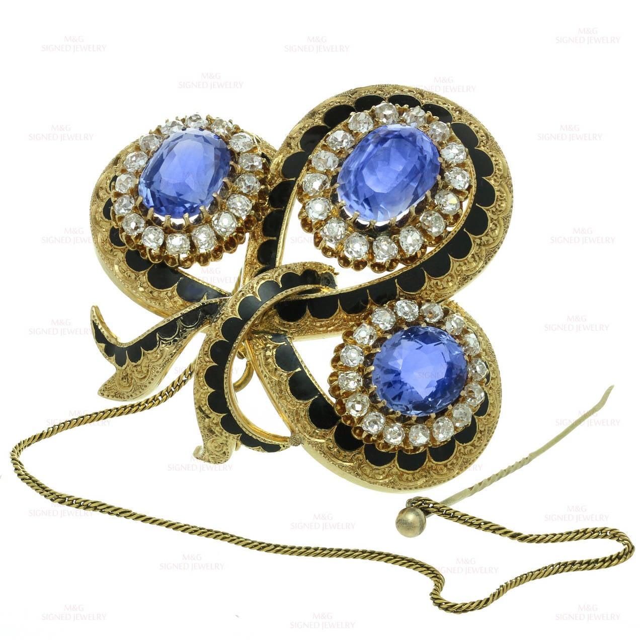Victorian Enamel Sapphire Diamond Gold Jewelry Suite 4