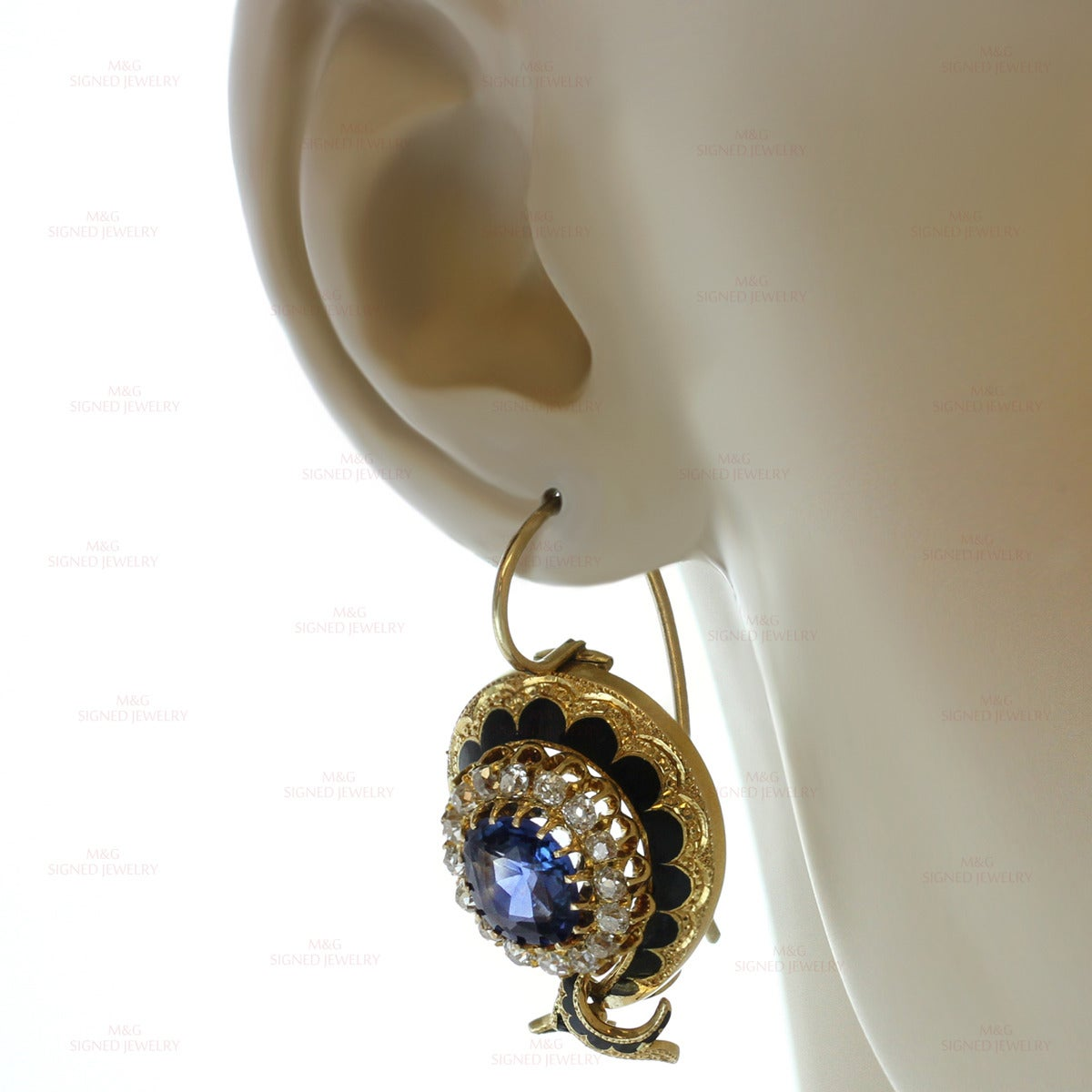 Victorian Enamel Sapphire Diamond Gold Jewelry Suite For Sale 1