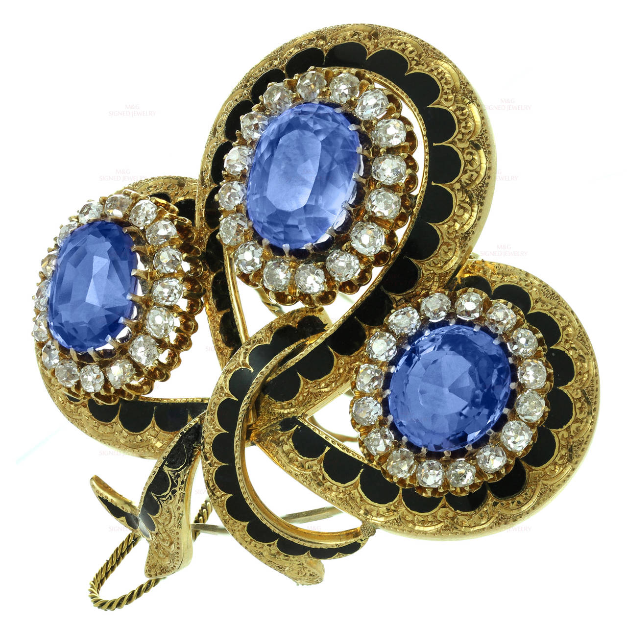 Victorian Enamel Sapphire Diamond Gold Jewelry Suite For Sale 3