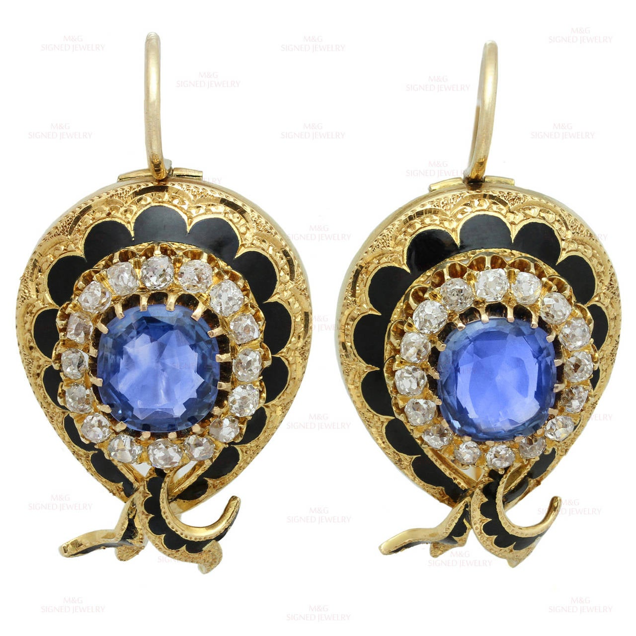 Victorian Enamel Sapphire Diamond Gold Jewelry Suite In Good Condition For Sale In New York, NY