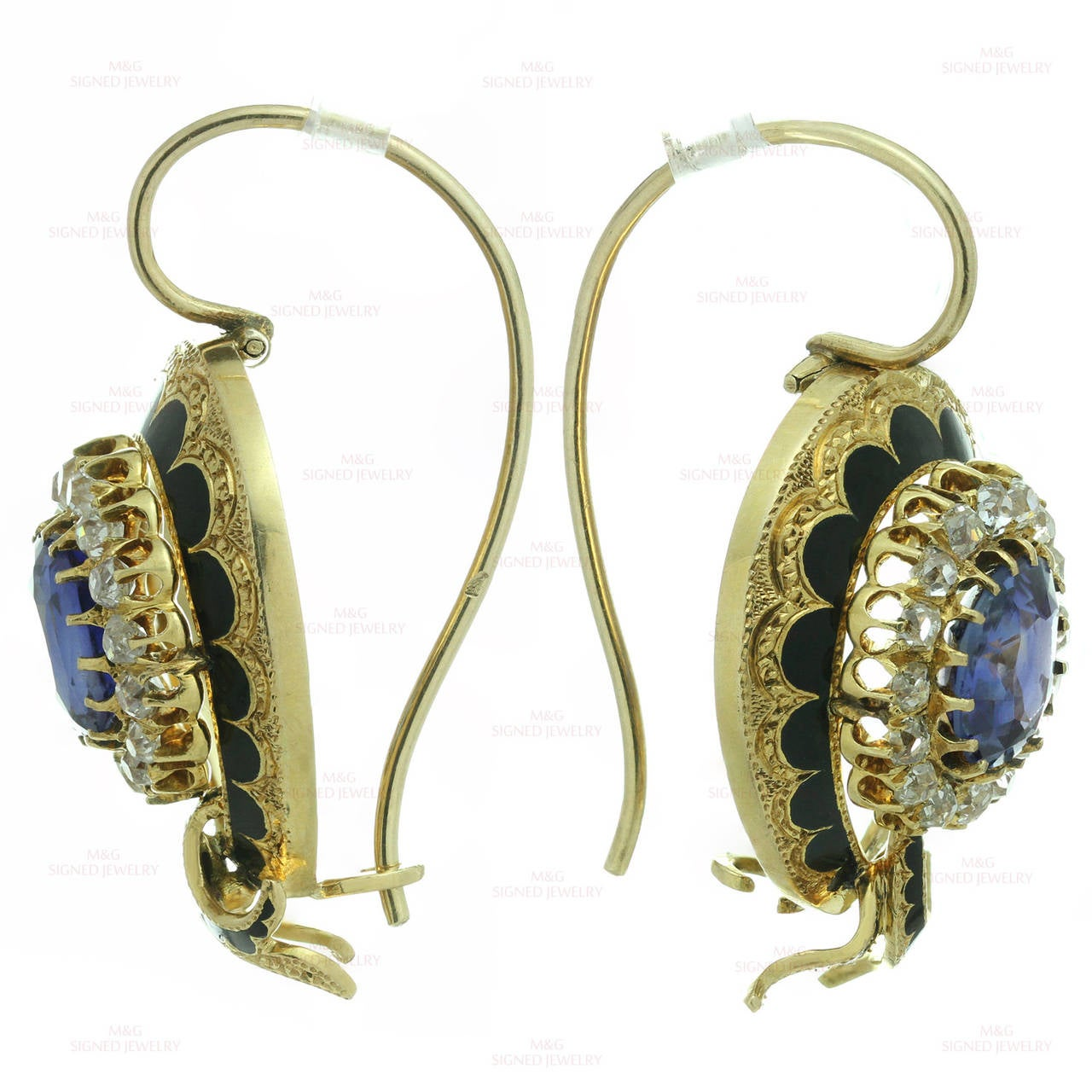 Victorian Enamel Sapphire Diamond Gold Jewelry Suite For Sale 2
