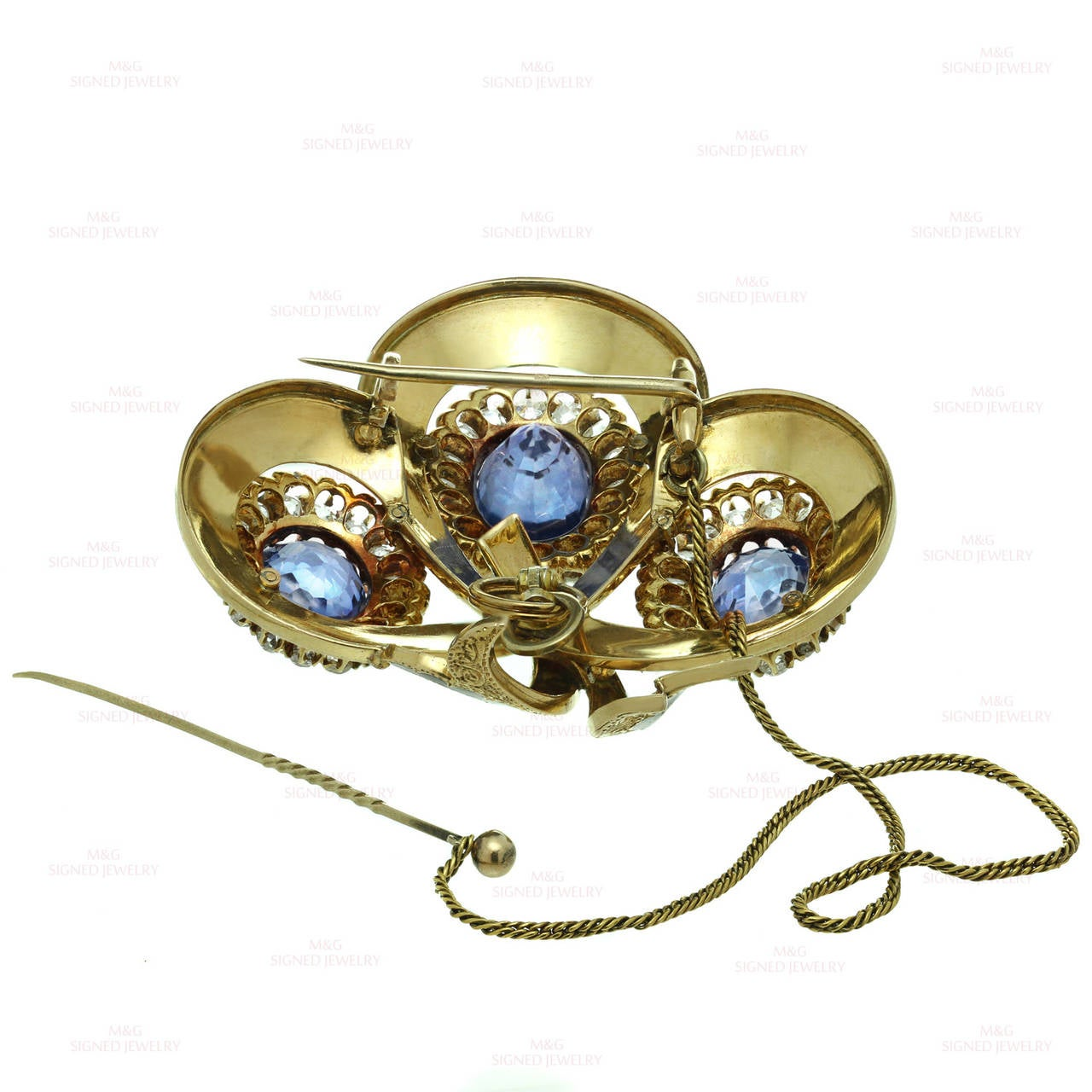 Victorian Enamel Sapphire Diamond Gold Jewelry Suite For Sale 4