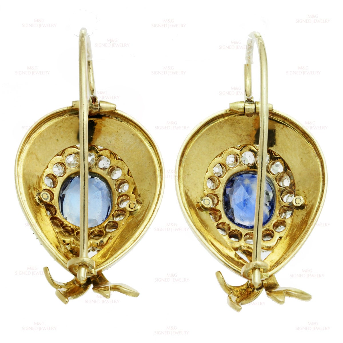 Victorian Enamel Sapphire Diamond Gold Jewelry Suite For Sale 5
