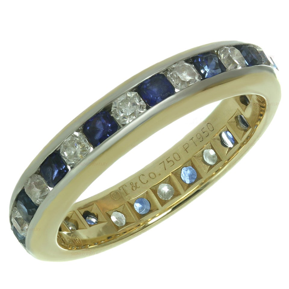 Tiffany and Co Lucida Diamond Sapphire Platinum Yellow Gold Ring