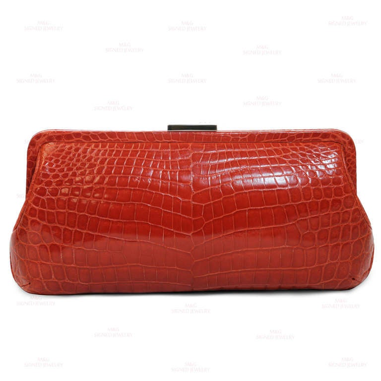 TIFFANY & CO. Holly Coral Red Color Glazed Crocodile Clutch 2