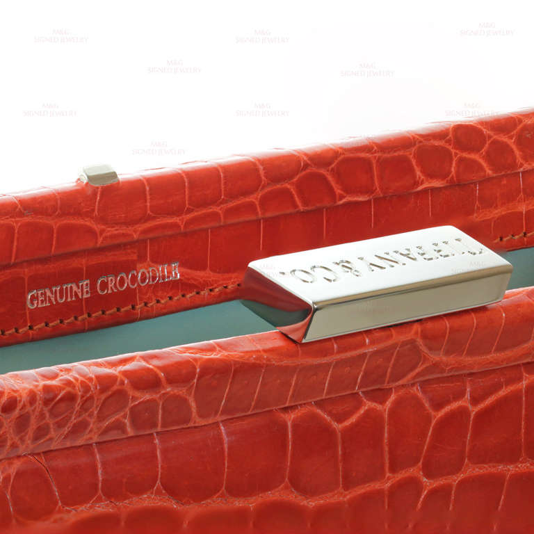 TIFFANY & CO. Holly Coral Red Color Glazed Crocodile Clutch 7
