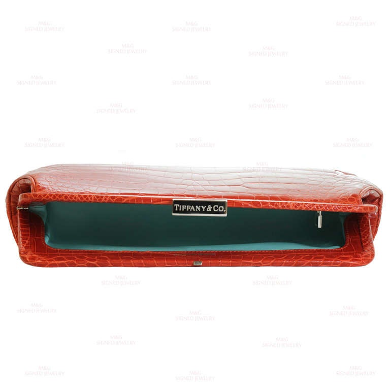 TIFFANY & CO. Holly Coral Red Color Glazed Crocodile Clutch 3