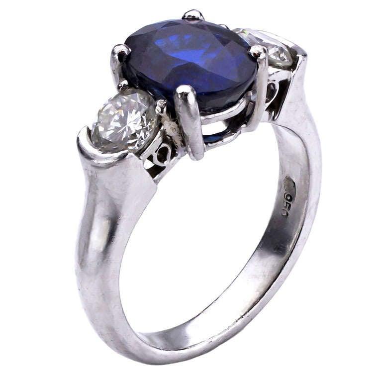 Oval Blue Sapphire Diamond Platinum Ring