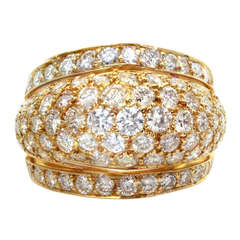 CARTIER Diamond Yellow Gold Dome Band Ring