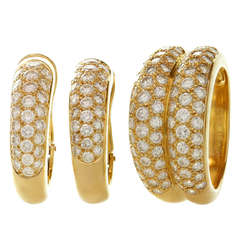 CARTIER Pave Diamond Yellow Gold Earrings & Ring Jewelry Set, Box Papers