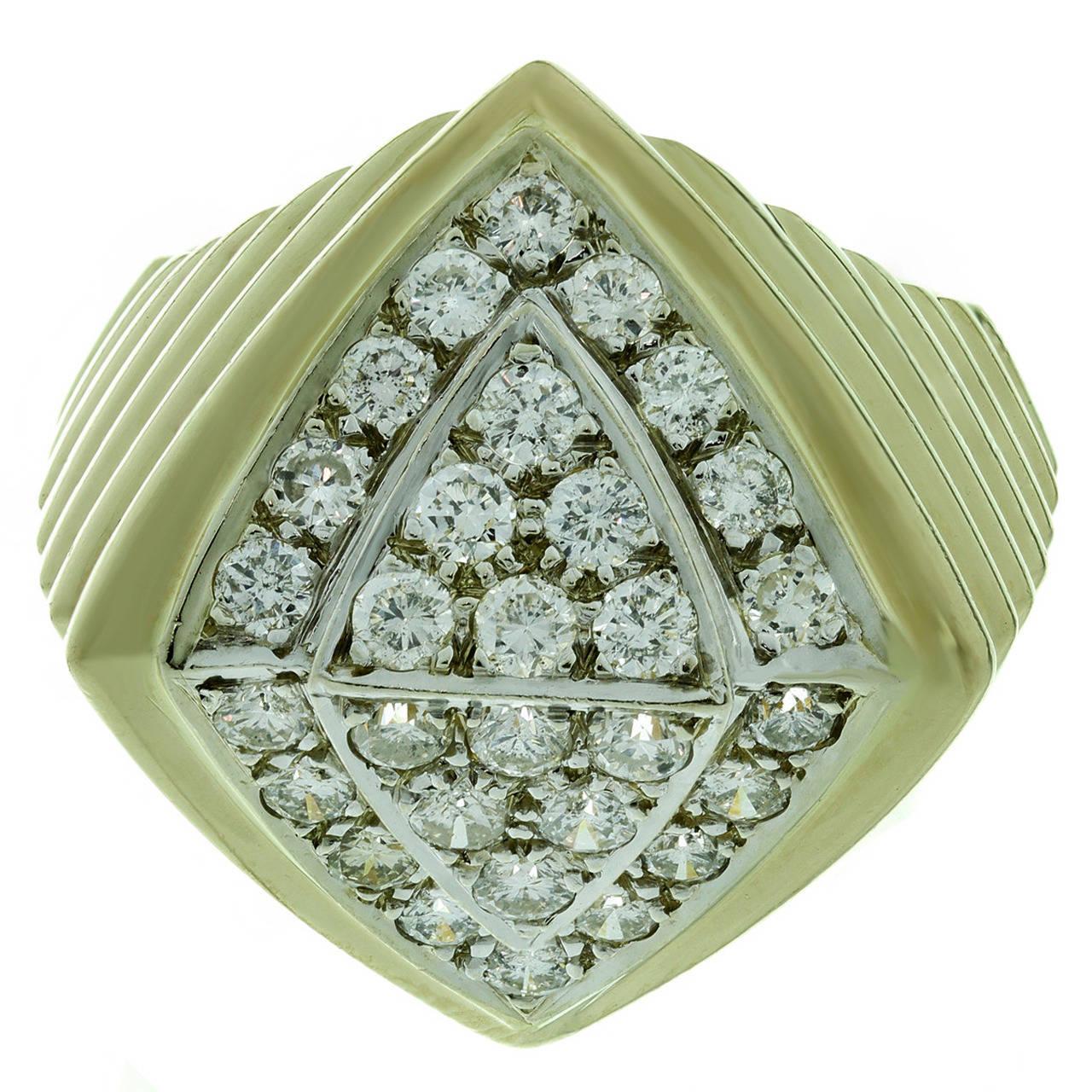 1980s Diamond Yellow Gold Geometric Ring