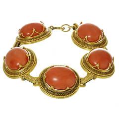 Victorian Natural Red Coral Gold Filigree Link Bracelet