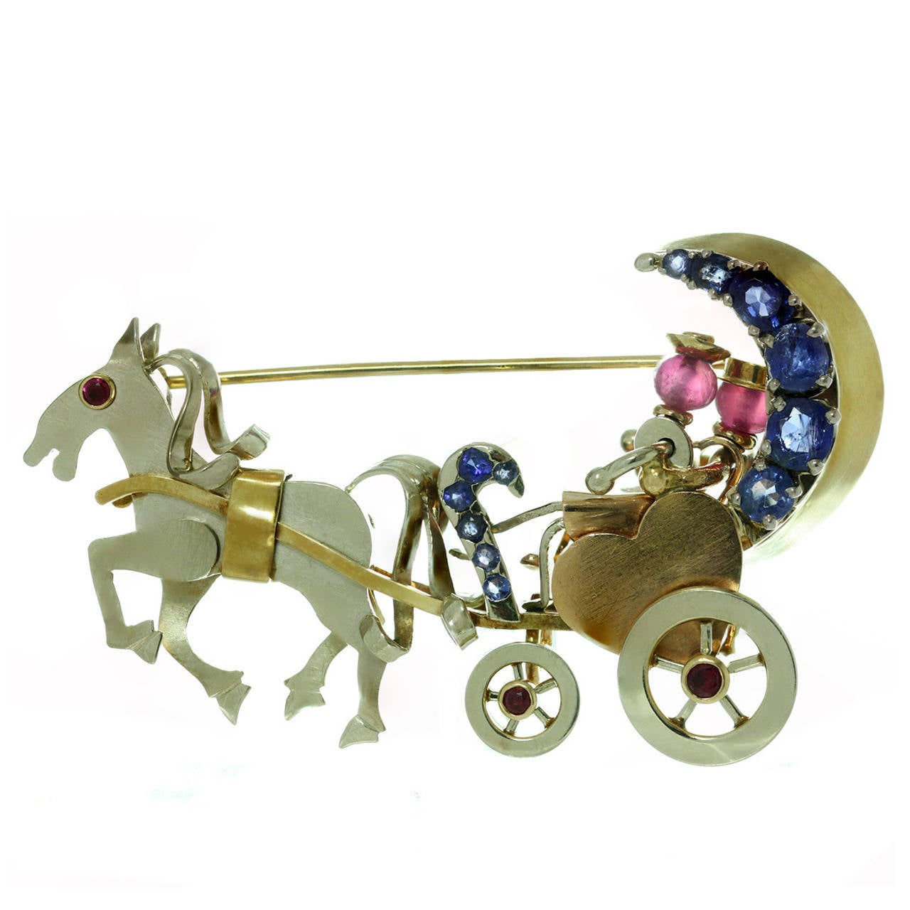 1940s Ruby Sapphire Tri-Color Gold Couple in Movable Horse Carriage Brooch