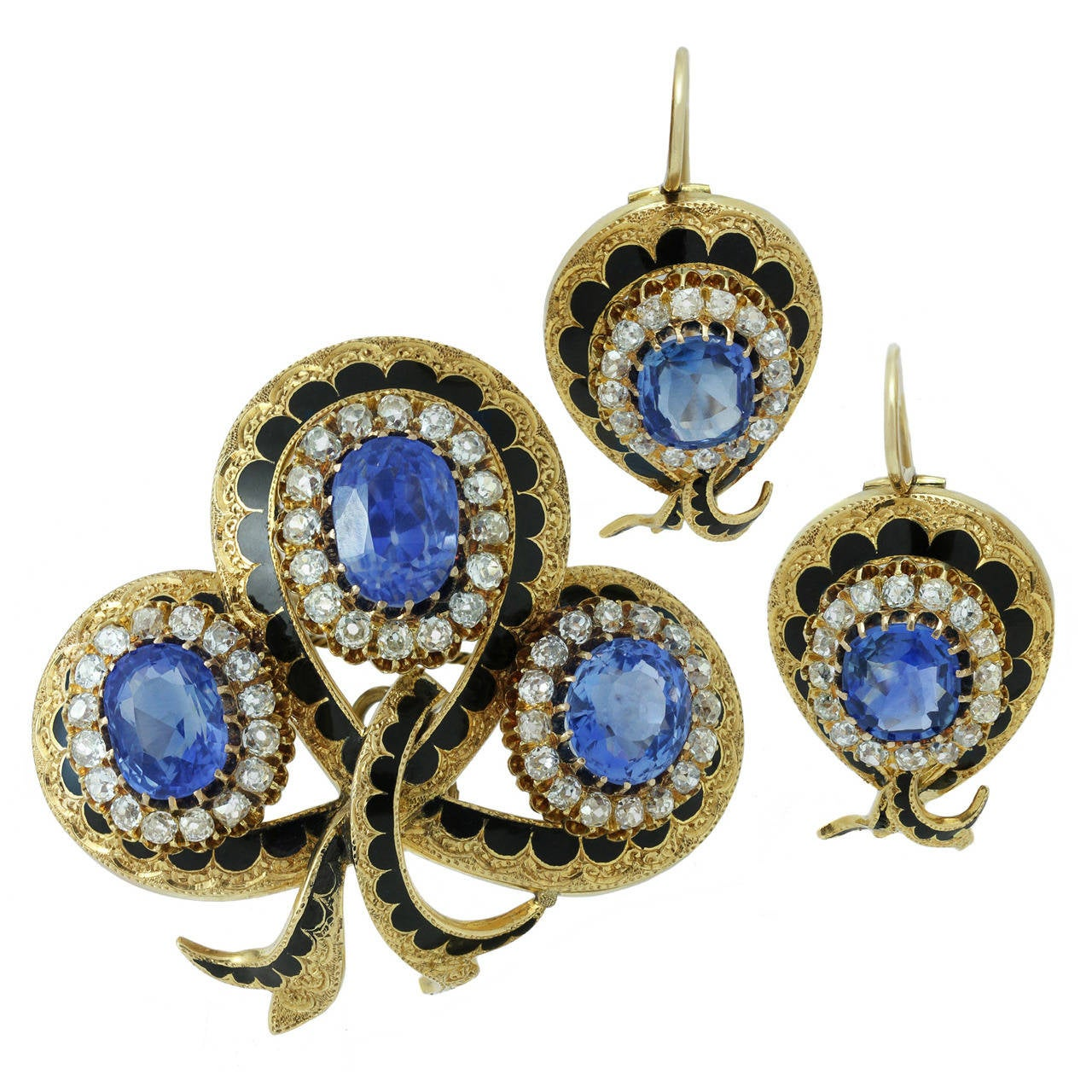 Victorian Enamel Sapphire Diamond Gold Jewelry Suite For Sale