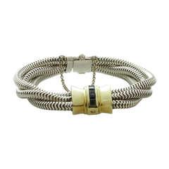 TIFFANY & CO. Sapphire Yellow Gold & Silver 3-Row Snake Bracelet