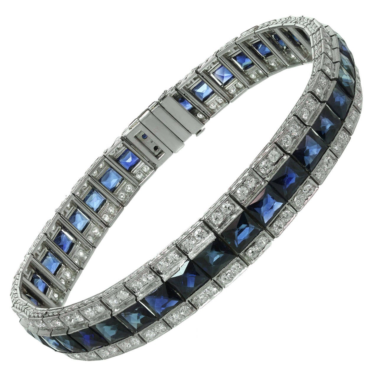 1930s tiffany and co art deco diamond french cut sapphire bracelet for sale at 1stdibs. Black Bedroom Furniture Sets. Home Design Ideas