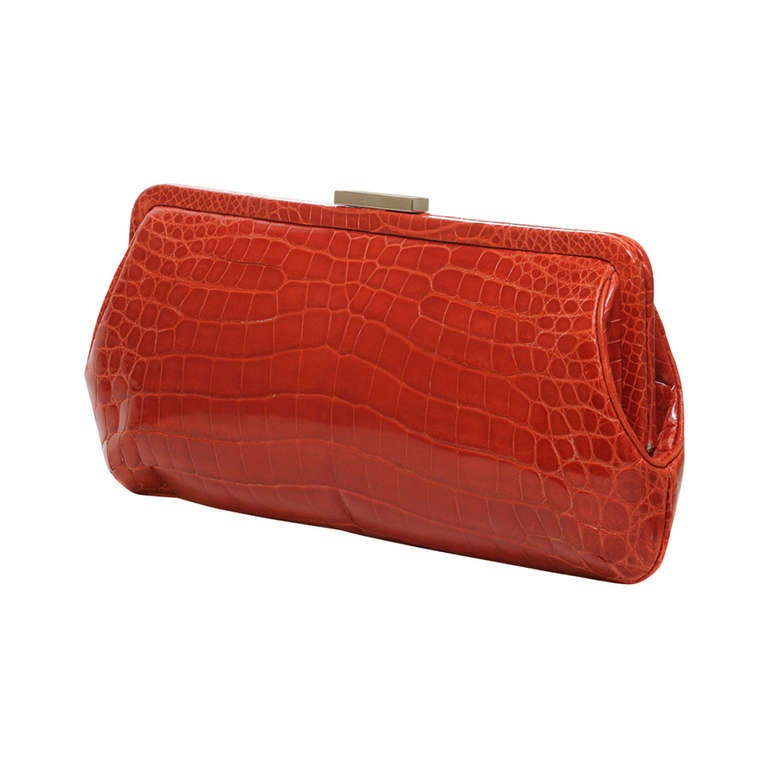 TIFFANY & CO. Holly Coral Red Color Glazed Crocodile Clutch 1