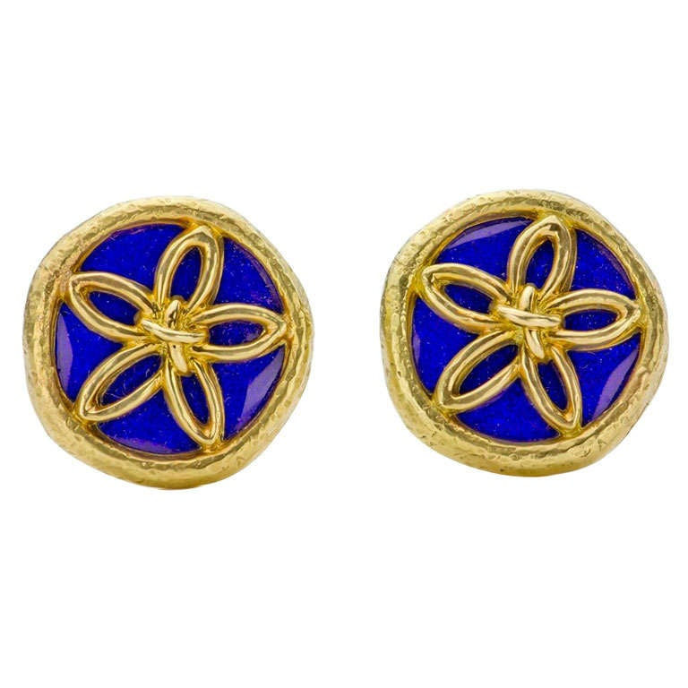 Tiffany & Co. Schlumberger Blue Enamel Gold Clip-On Earrings