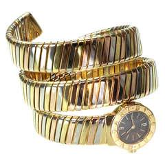 Bulgari Lady's Tri-Tone Gold Tubogas Snake Bangle Bracelet Watch circa 1980s