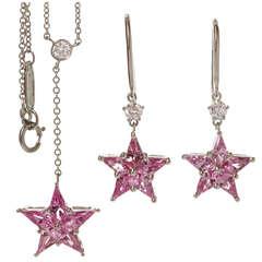 TIFFANY & CO. Pink Sapphire Diamond Platinum Star Earrings & Necklace