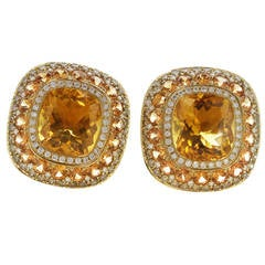 Diamond Orange Sapphire Citrine Yellow Gold Earrings