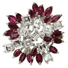 1970s Custom-Made Diamond Ruby White Gold Floral Cluster Ring