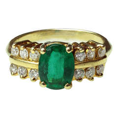 1980s FORTUNOFF  Diamond Emerald Yellow Gold Ring