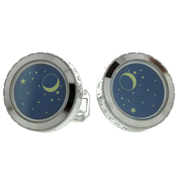 Harry Winston Blue Enamel Night Sky Stars Moon White Gold ...