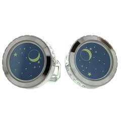 Harry Winston Blue Enamel Night Sky Stars Moon White Gold Cufflinks