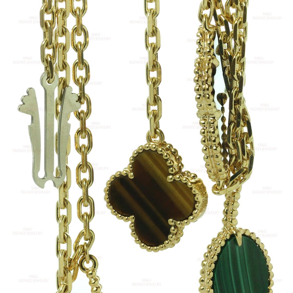 Van Cleef Lucky Alhambra Necklace: Van Cleef And Arpels Lucky Alhambra 12 Motif Gemstone Gold