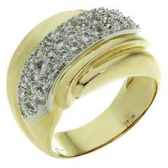 1990s Diamond Yellow & White Gold Dome Ring