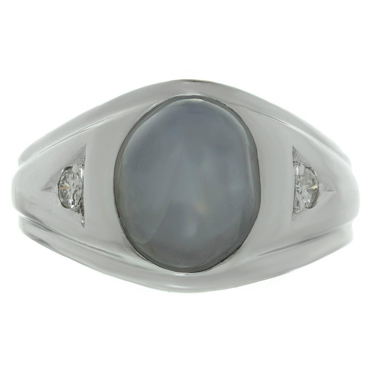 1980s Diamond Star Sapphire White Gold Ring
