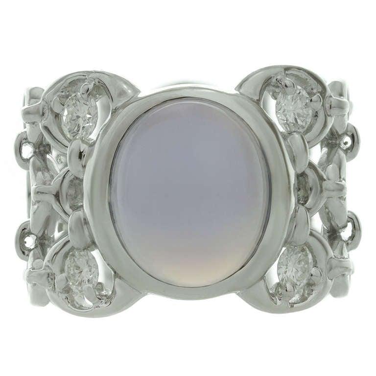 2000s CHRISTIAN DIOR Diamond Chalcedony White Gold Ring