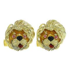 1970s Diamond Ruby Enamel Yellow Gold Lion Head Cufflinks