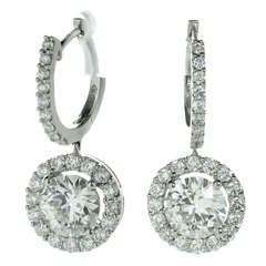 Modern Diamond White Gold Round Drop Earrings