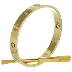 Cartier Love 4 Diamond Yellow Gold Bracelet