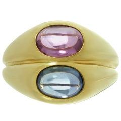 Iconic 1980s Bulgari Blue Pink Sapphire Gold Ring