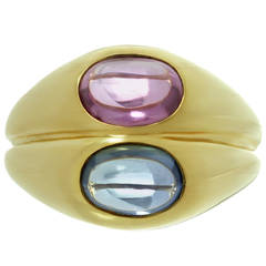 Iconic 1980s Bulgari Blue Pink Sapphire Gold Ring