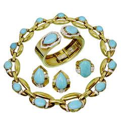 1960s DAVID WEBB Diamond Turquoise Platinum Yellow Gold Jewelry Suite
