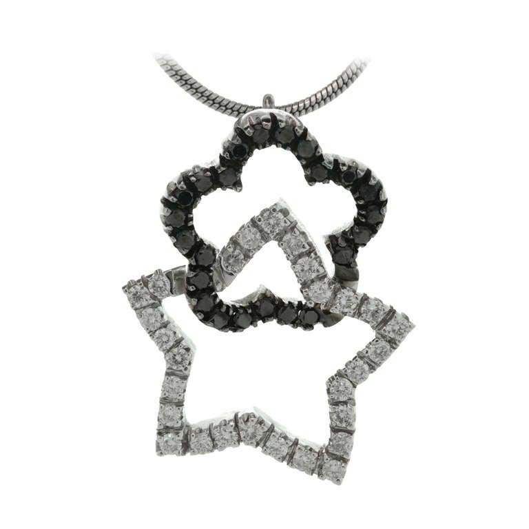 White Diamond Star & Black Diamond Flower Gold Pendant Necklace
