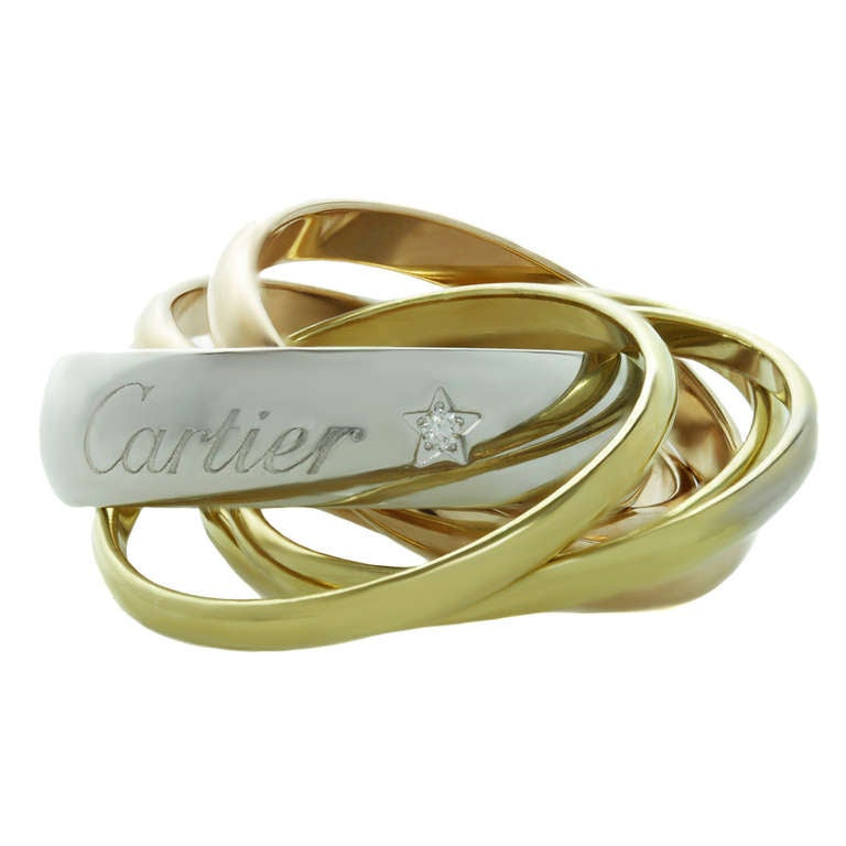 CARTIER Trinity La Belle Diamond Tri-Gold 6-Band Ring Size 46