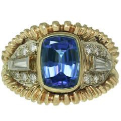 1990s Royal Blue Tanzanite Diamond Yellow White Gold Ring