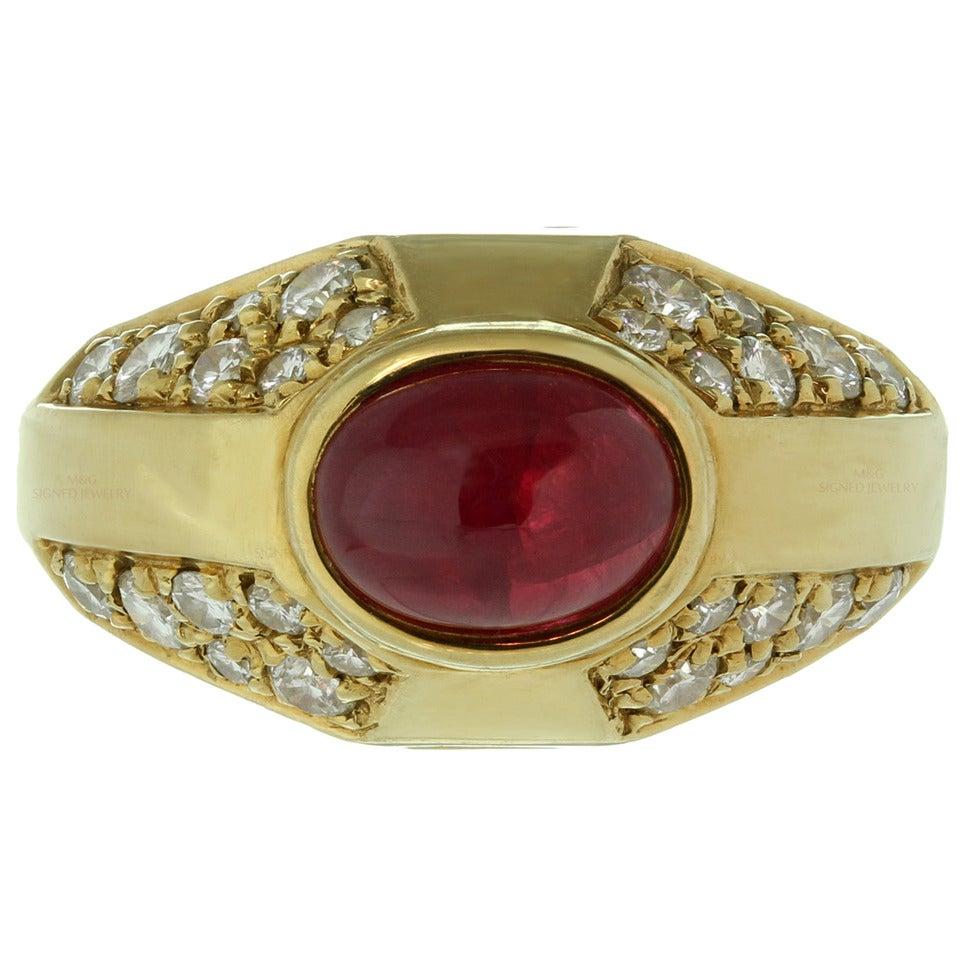 1980s Bulgari Ruby Diamond Gold Ring