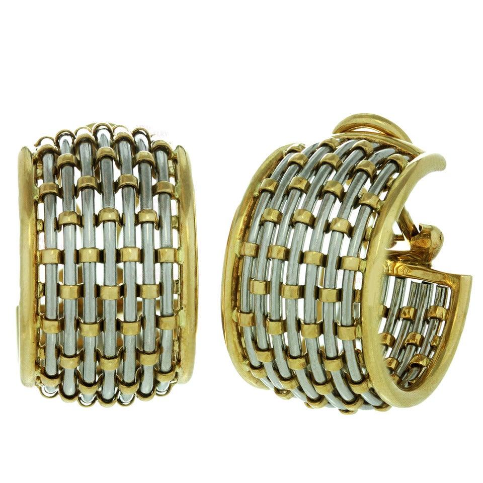 1980s Cartier Braided Gold Stainless Steel Hoop Earrings