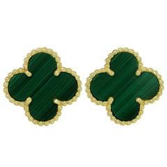 Van Cleef & Arpels Vintage Alhambra Green Malachite Gold Earrings