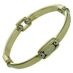 SAURO White Yellow Gold Mens Link Bracelet $3500
