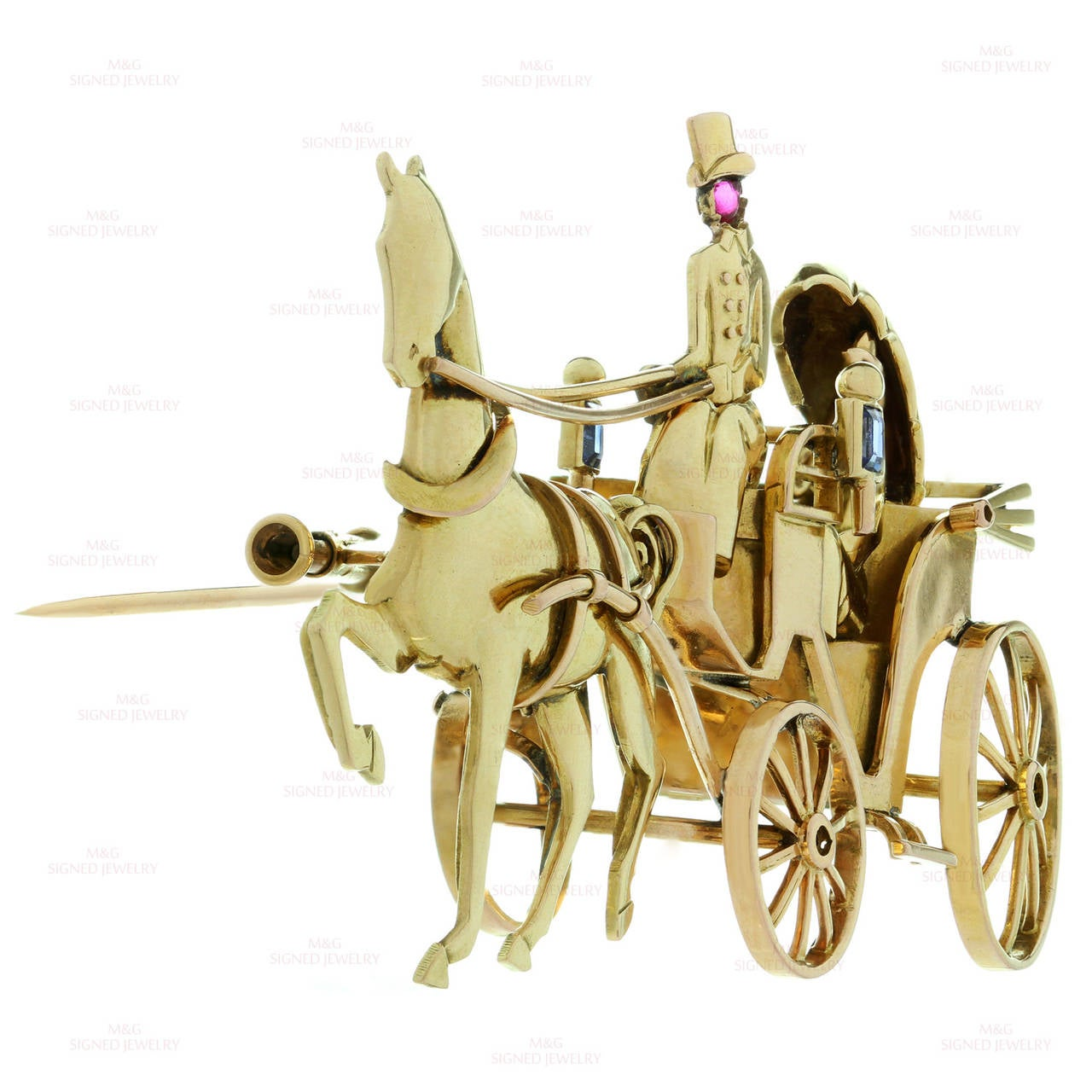 Women's 1940s Mauboussin Paris Sapphire Ruby Gold Horse Carriage Couple Brooch For Sale