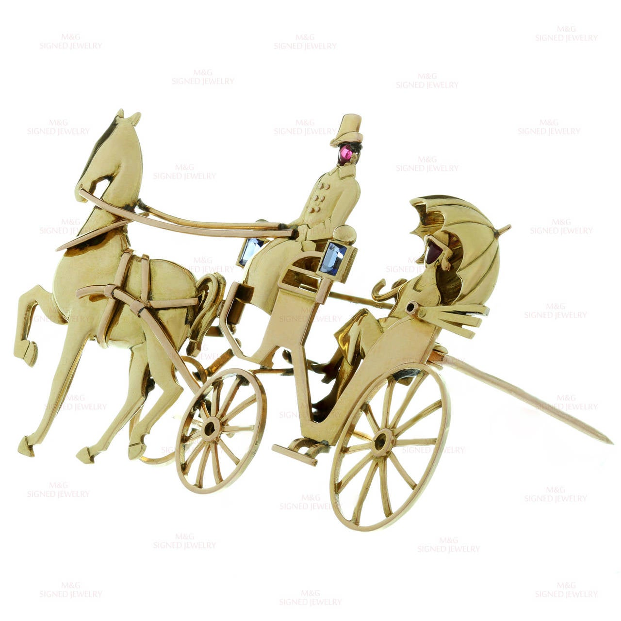 1940s Mauboussin Paris Sapphire Ruby Gold Horse Carriage Couple Brooch For Sale 1