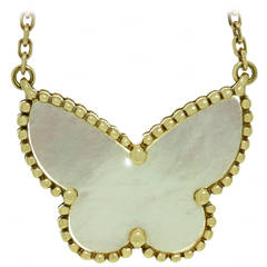 Van Cleef & Arpels Lucky Alhambra Mother-of-Pearl Gold Butterfly Pendant
