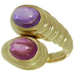 Bulgari Rubellite Amethyst Gold Ring